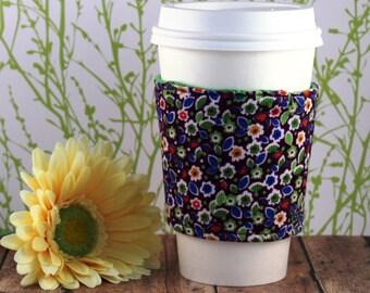 Fabric Coffee Cozy / Purple Flower Corduroy Coffee Cozy / Corduroy Coffee Cozy / Purple Coffee Cozy / Coffee Cozy / Tea Cozy