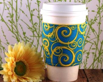 CLEARANCE / Fabric Coffee Cozy / Yellow Swirls Coffee Cozy / Coffee Cozy / Tea Cozy