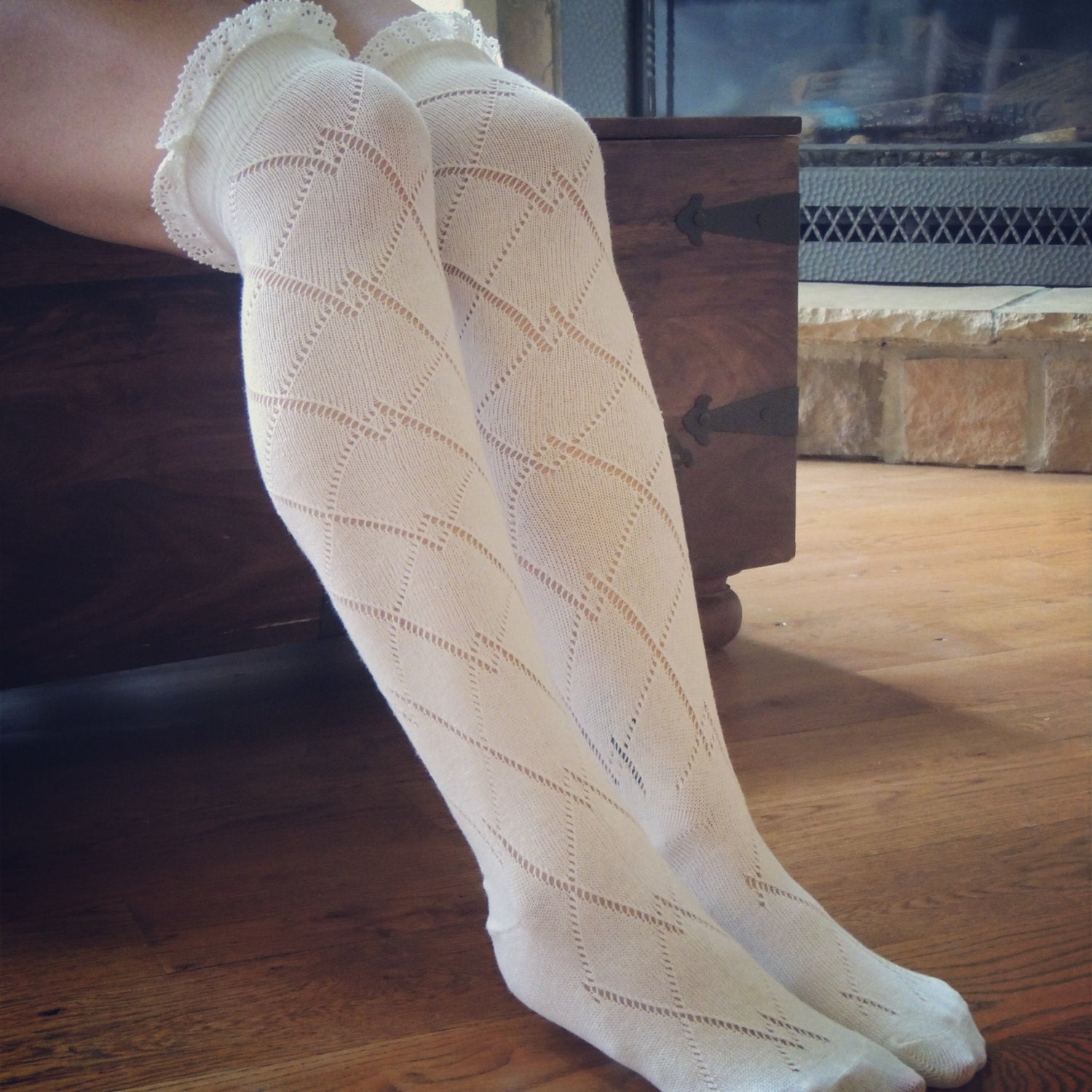 boot socks with lace knee high boot socks