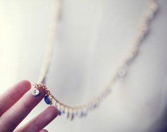 Little Sparkle Rhinestone Statement Necklace, cornflower blue enamal back