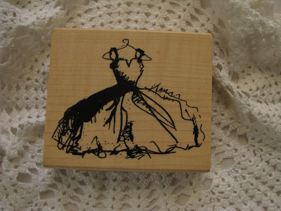 Wedding dress rubber stamp wooden block scrapook card for Wedding dress rubber stamp
