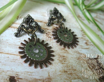 Steampunk Cowgirl Spur Earrings in Silver, Copper, and Gold