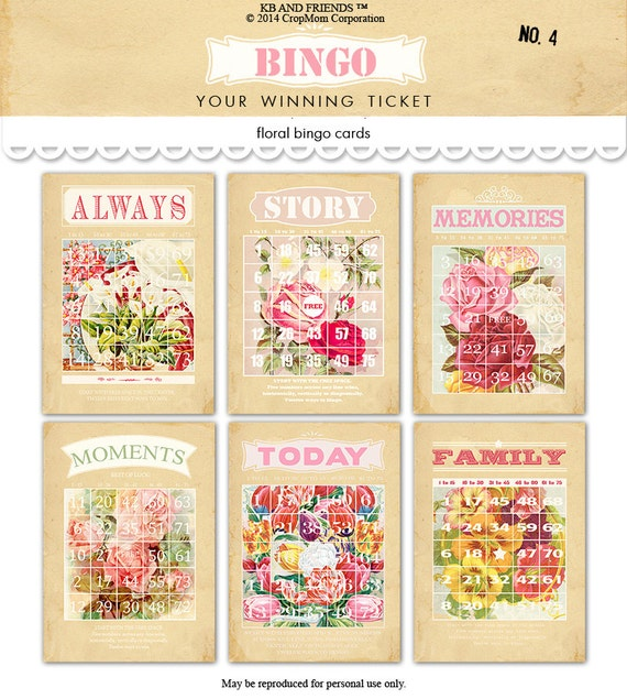 Digital vintage cottage shabby chic flowered bingo cards by KB and Friends™.