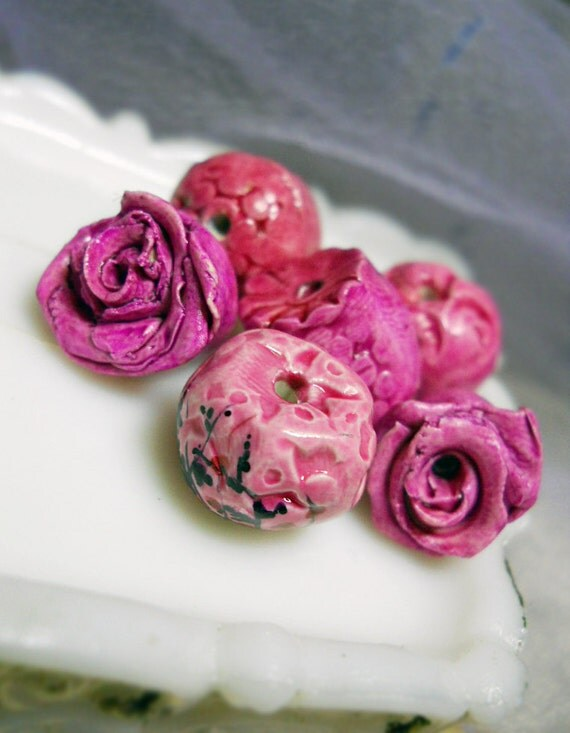 Polymer Clay Beads - 6 Rustic Glazed Floral Beads -  Magenta Roses, Painted Flowers, Raspberry Rose Pods - Colorful Polymer Clay Art Beads