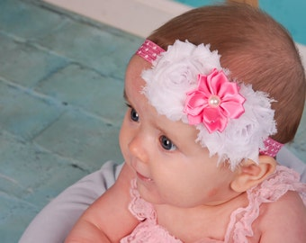 Pink and White Flower Valentine Headband Newborn headband baby headbands teen headbands adult headbands