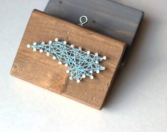 North Carolina String and Nail Art Rustic Wood Ornament