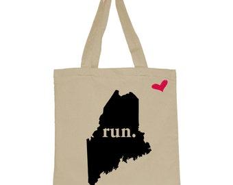 RUN Maine Canvas Tote Bag