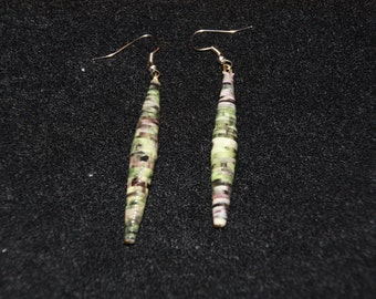 Brown Checked Rolled Paper Earrings