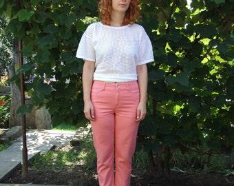 80's vintage women's coral pants