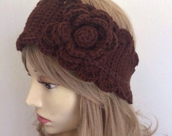 Autumn Bloom crochet earwarmer/headwrap in chocolate- or Choose Your Color