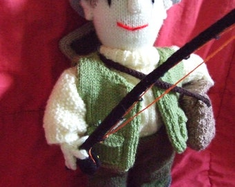 knitted fly fisherman mascot doll