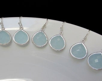bridesmaids earrings sets , pale blue earrings , light blue earrings , bridesmaids blue jewelry , for the bridesmaids , wedding gift