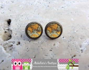 Map Earrings Map Jewelry World Earrings World Jewelry Antique Map Earrings Vintage Glass for Her Gifts under 10