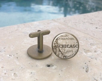 Vintage Mens Chicago Cufflinks,Cufflinks,Mens cufflinks,Glass Cufflinks, Gifts for Him, Mens Gifts,Map Cufflinks,Illinois,Mens Acessories