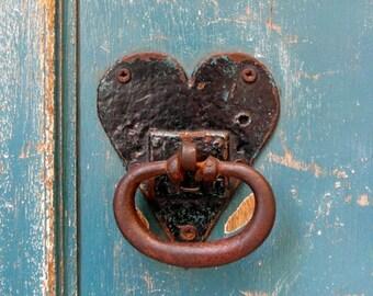 Fine art photography print : Blue door, black love heart, door knocker, France photography, door photography, blue door, Mediterranean decor