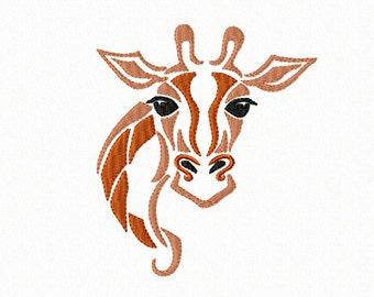 Magestic African Wildlife - TRIBAL - Giraffe Head ~ Machine Embroidery Design in 2 sizes - Instant Download