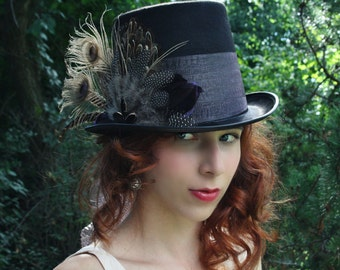 Mad Hatter top hat alice in wonderland top hat steampunk top hat mardi gras hat neo victorian top hat neo gothic top hat  CHESHIRE
