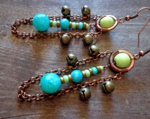 tribal earrings, afrocentric jewelry, african earrings, boho earrings, bohemian jewelry, amazonite earrings, tibetan jewelry, ethnic jewelry