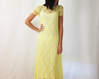 Vintage Lace Dress - Yellow Dress - Sheer Dress - Maxi Dress - Long Dress - Xs or small - 1960s - Lace Overlay Dress - Boho Dress - Bohemian