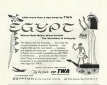 """Egypt / TWA Original 1954 Vintage Print Ad Black and White Illustration """"Where East Meets West Amidst The Wonders of Antiquity""""; Air Travel"""