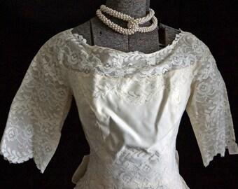 1950s Womens Ivory Lace Wedding Dress Sz 6 Vintage Retro