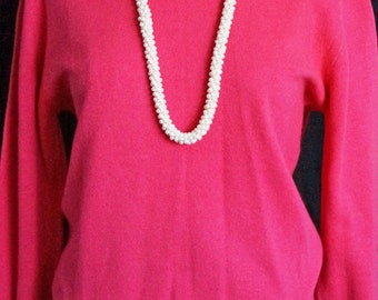 1950s Womens Pullover Pink Nylon Blend Sweater Sz M Vintage