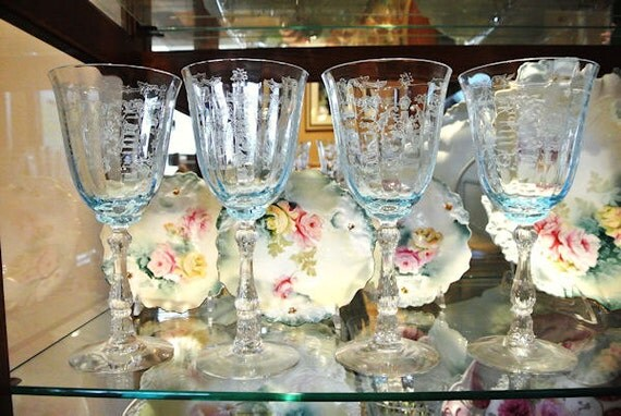 Blue Fostoria Azure Navarre Footed Set of Four Water Goblets Elegant Glassware Rare Stem Stemware Glasses Formal Dining Cottage Chic Wedding