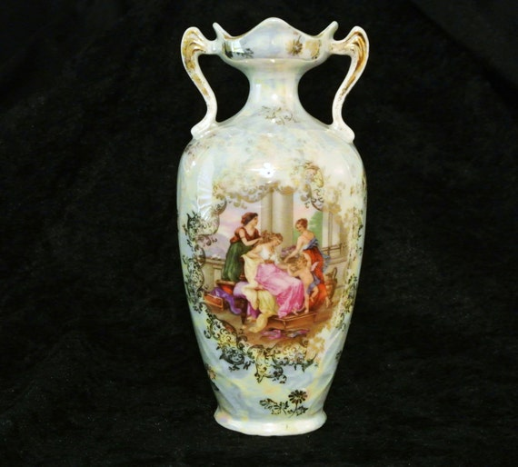 1900s RS Prussia Vase ES Prov Saxe Germany Art Nouveau Mythological Ladies Cherub Scene Victorian Porcelain Cottage Home Decor Wedding Vase