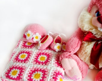 Crochet daisy baby blanket, colorful hat and shoes set, crochet baby blanket, crochet baby flower