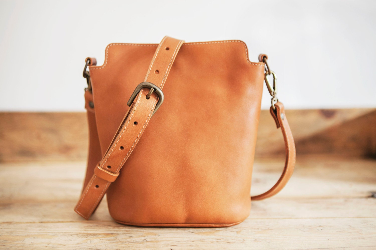 COWHIDE Leather bag // Small Leather handbag // Brown Leather