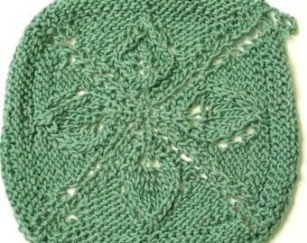 Spa washcloth - hand knit, leaf green, 100% cotton