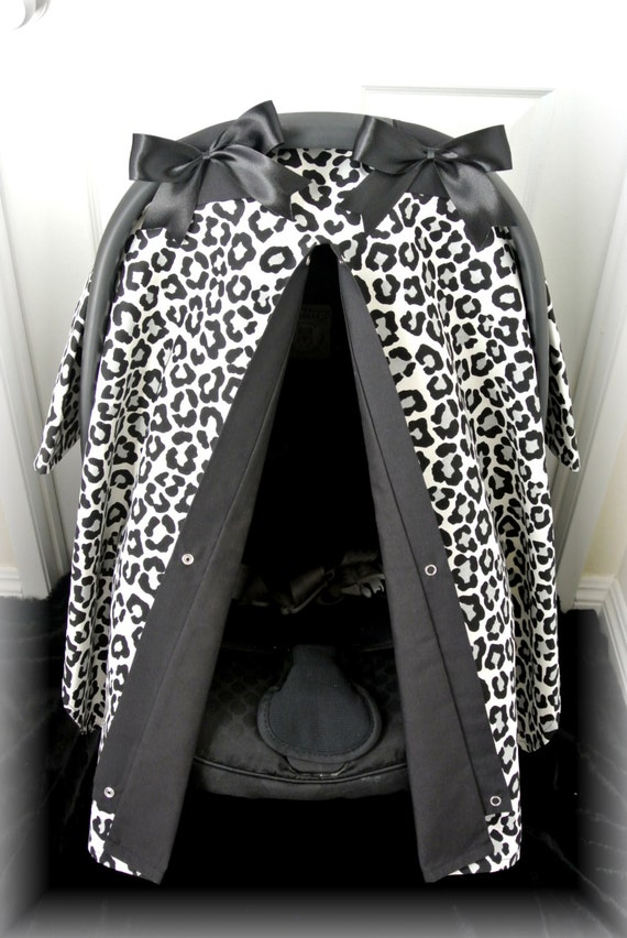 items similar to discontinued car seat canopy car seat cover cheetah black polka dot. Black Bedroom Furniture Sets. Home Design Ideas