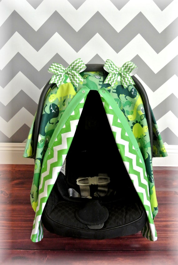 items similar to flannel dinosaur car seat cover canopy infant car seat cover lime green. Black Bedroom Furniture Sets. Home Design Ideas