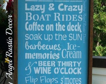 """At the BEACH -we do...., distressed typography subway wood sign 12""""x24"""", Beach Sign, Beach House Sign, Beach Decor, Deck Sign, Outdoor Sign"""