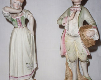 Antique Ceramic Colonial Man and Woman Figurines