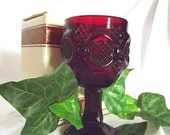 Vintage Avon 1876 Cape Cod Collection Wine Goblet Small Wine Glass Ruby Red Sandwich Glass Liqueur Glass 1980s Collectible Early American