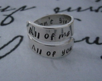 All of me loves All of you,  Anniversary Gifts for Boyfriend, Sterling Silver Ring, Anniversary Gifts for Men, Boyfriend Girlfriend Jewelry