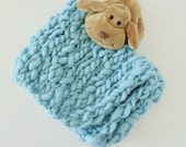Handspun Newborn Blanket from Artistic Handyed Sky Blue Merino Wool, Hand Knitted Mini Baby Blanket, Photo Prop Organic Baby Blanket