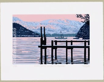 Winter Sunset on Lake Windermere - Limited Edition Linocut Reduction Print - Contemporary Fine Art