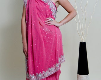 Indian Saree, Wedding, Pure Chiffon, Peach, Salmon Pink, Silver Embroidery, Rhinestones, Glamorous, Classy, Timeless, Zardosi