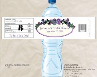 Water Bottle Labels, Bridal Shower Labels, Waterproof, Custom Water Sticker, Floral Stickers, Shower Favors, DIY Wedding (Set of 20)(Y127)