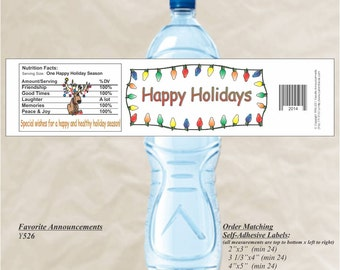 Christmas Dinner, Holiday Water Bottle Label, Christmas Labels, Christmas Stickers, Holiday Stickers, Holiday Decoratons (Set of 20)(Y526)