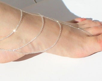 SUMMER PARADISE  6-Silver Slave Anklet Barefoot Sandal Beach Style - Sold as Pair