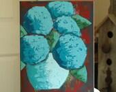 Still Life Acrylic Painting - Original Art - Rustic Blues - Urban Modern Rustic - Palette Knife Painting