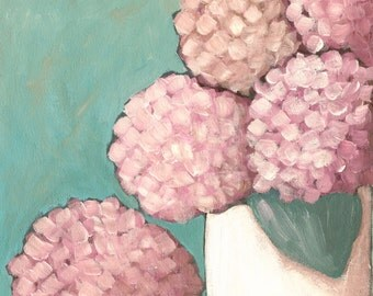 In the Pink - hydrangeas - Fine Art PRINT - cottage chic, acrylic painting by Lana Manis