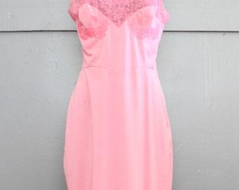 Vintage Sexy Slip. Bubble Gum Pink. Size Medium.
