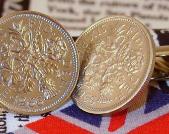 Boxed Pair Vintage British 1966 Lucky Sixpence Six Penny Coin Cufflinks Wedding 51st Birthday Anniversary