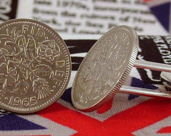 Boxed Pair Vintage British 1965 Lucky Sixpence Six Penny Coin Cufflinks Wedding 51stBirthday Anniversary