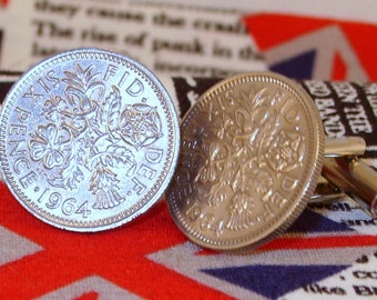Boxed Pair Vintage British 1964 Lucky Sixpence Six Penny Coin Cufflinks Wedding 53rd Birthday Anniversary