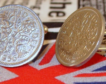 Boxed Pair Vintage British 1956 Lucky Sixpence Six Penny Coin Cufflinks Wedding 61st Birthday Anniversary
